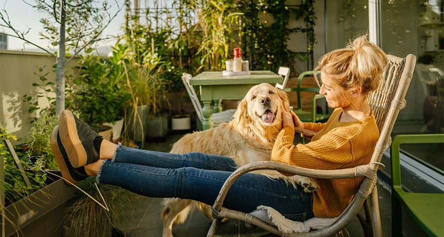 Woman with dog on lap in the sun